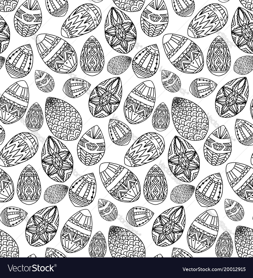 Seamless texture with festive doodle eggs with