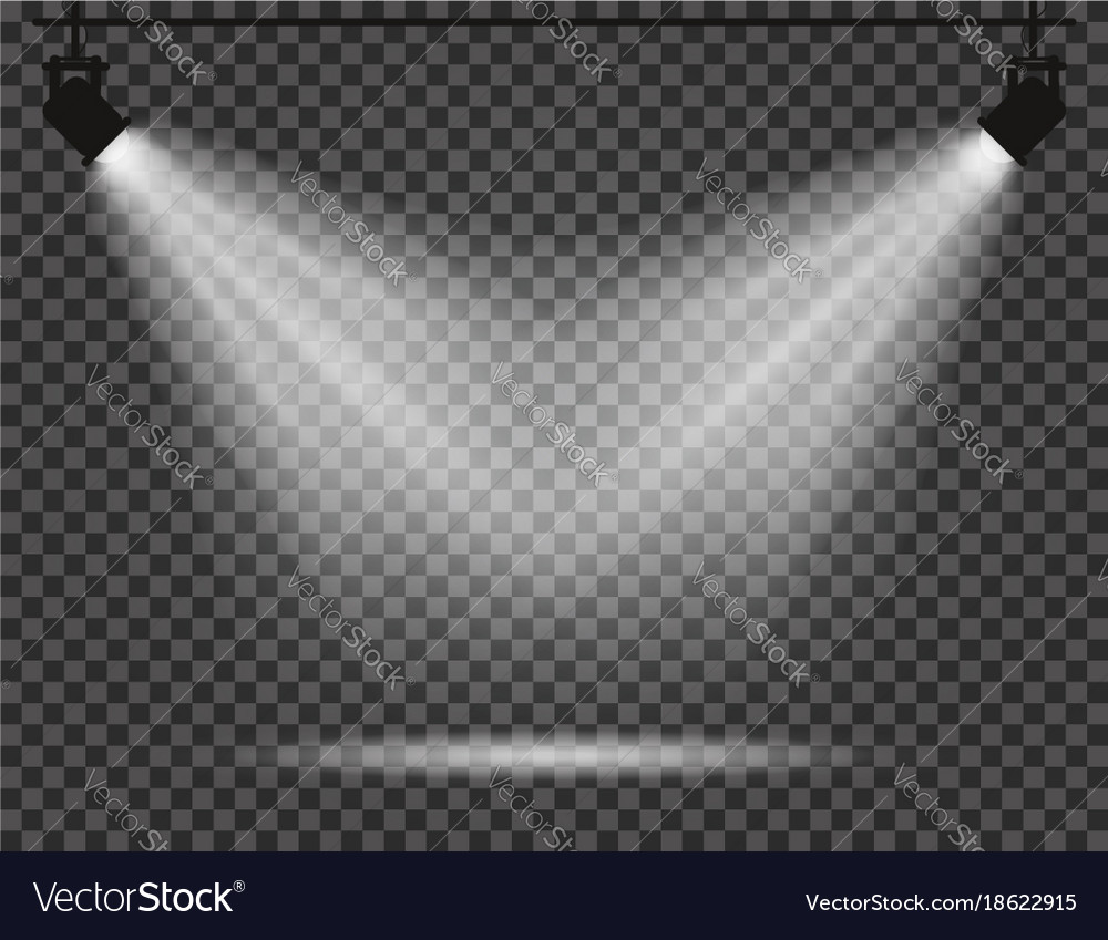 Spotlights with light beams on transparent