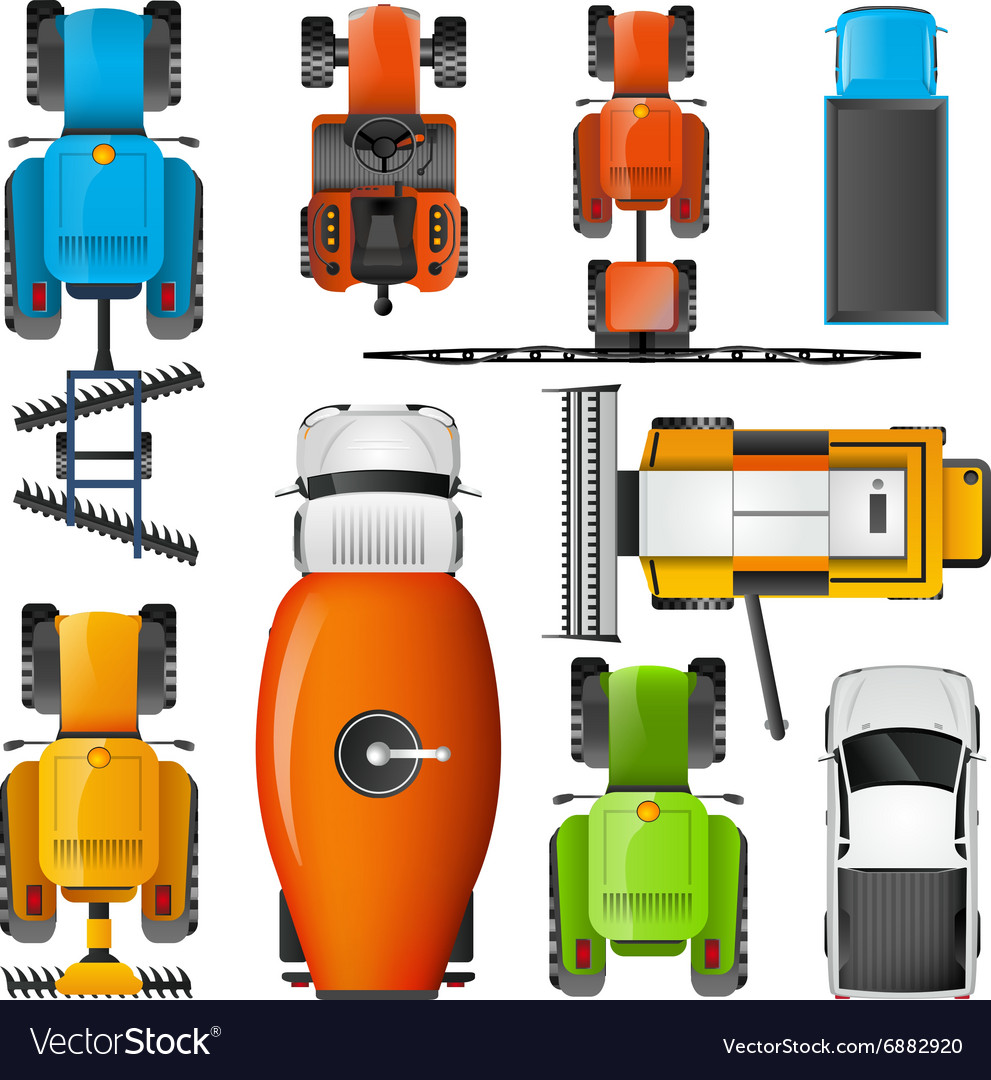 Agricultural Machinery Top View Pictograms Set