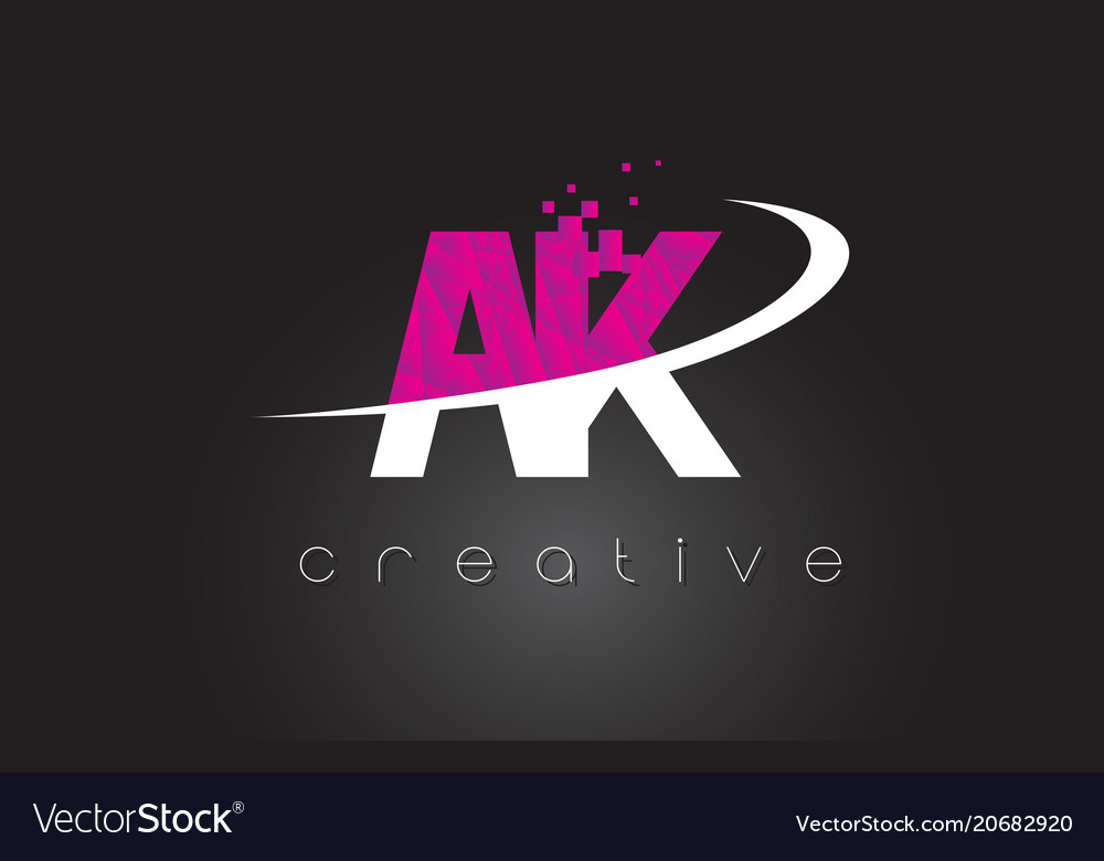 Ak a k creative letters design with white pink