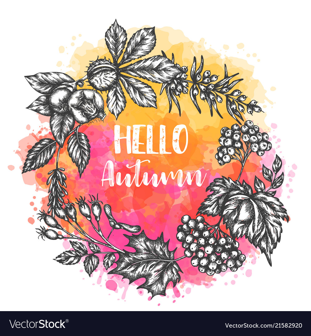 Autumn hand drawn design roud