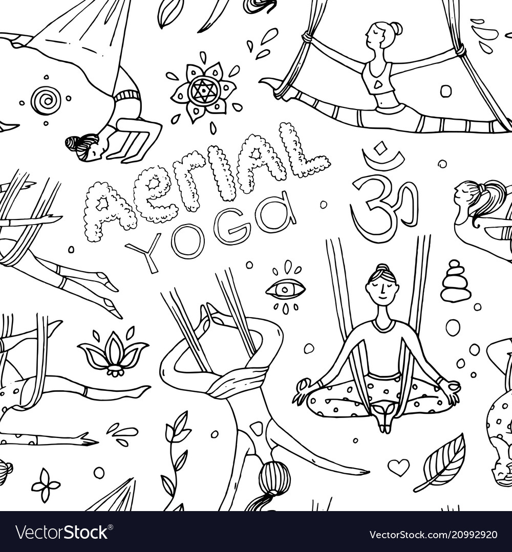 Beautiful hand drawn aerial yoga