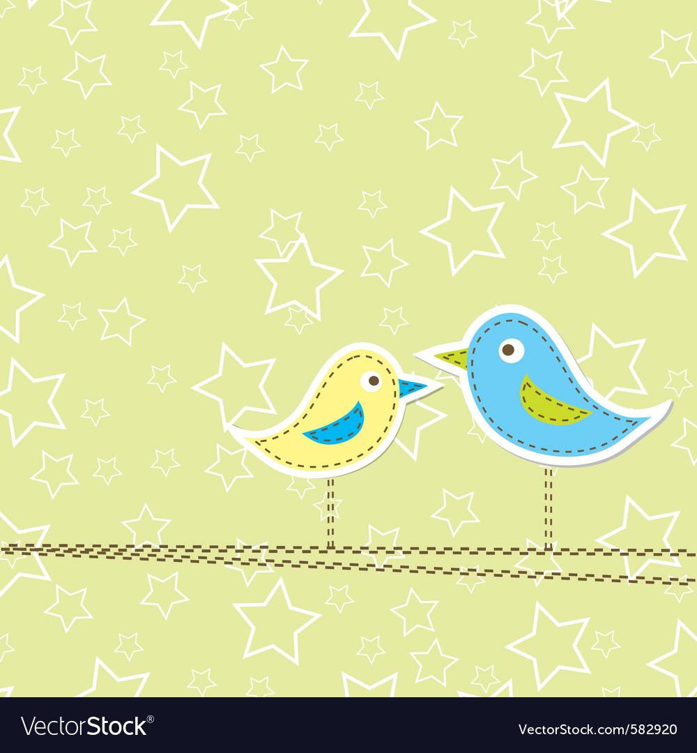Birds Greeting Card Design Royalty Free Vector Image