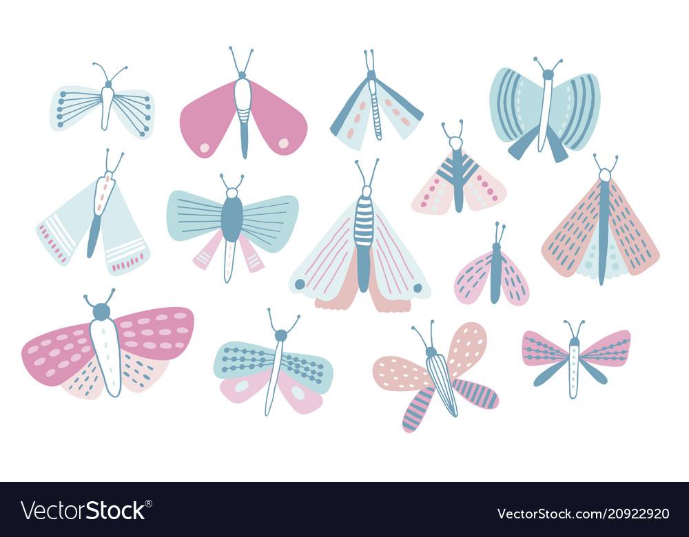 Bundle of pastel colored cartoon moths of