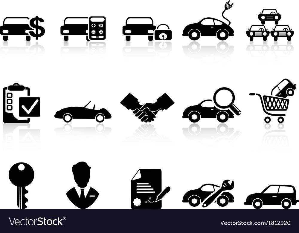 Car dealership icons set vector image