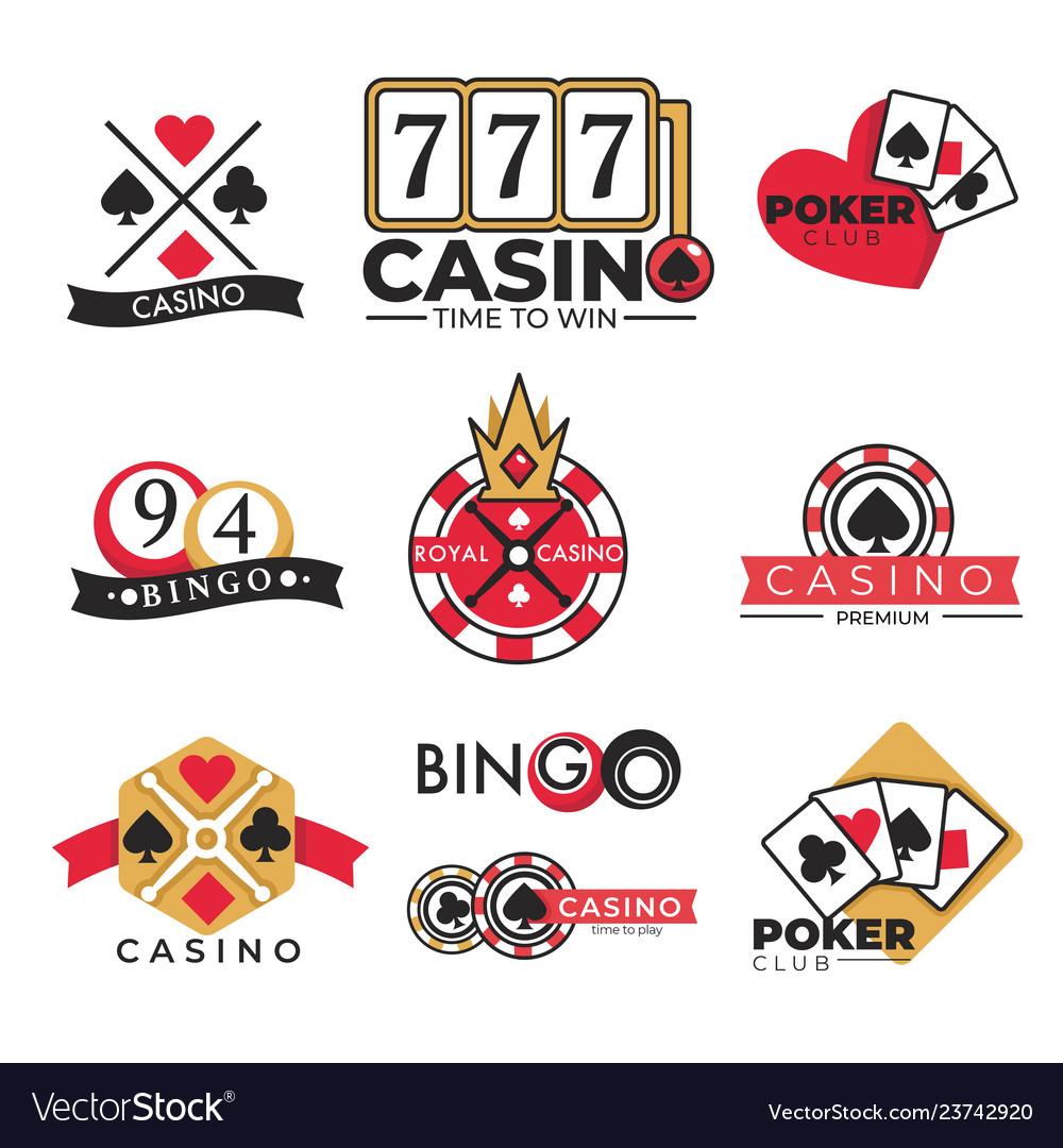 Casino club gambling poker and bingo isolated