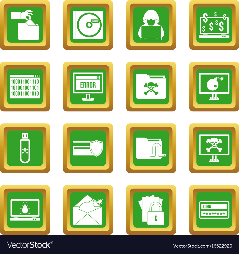 Criminal activity icons set green