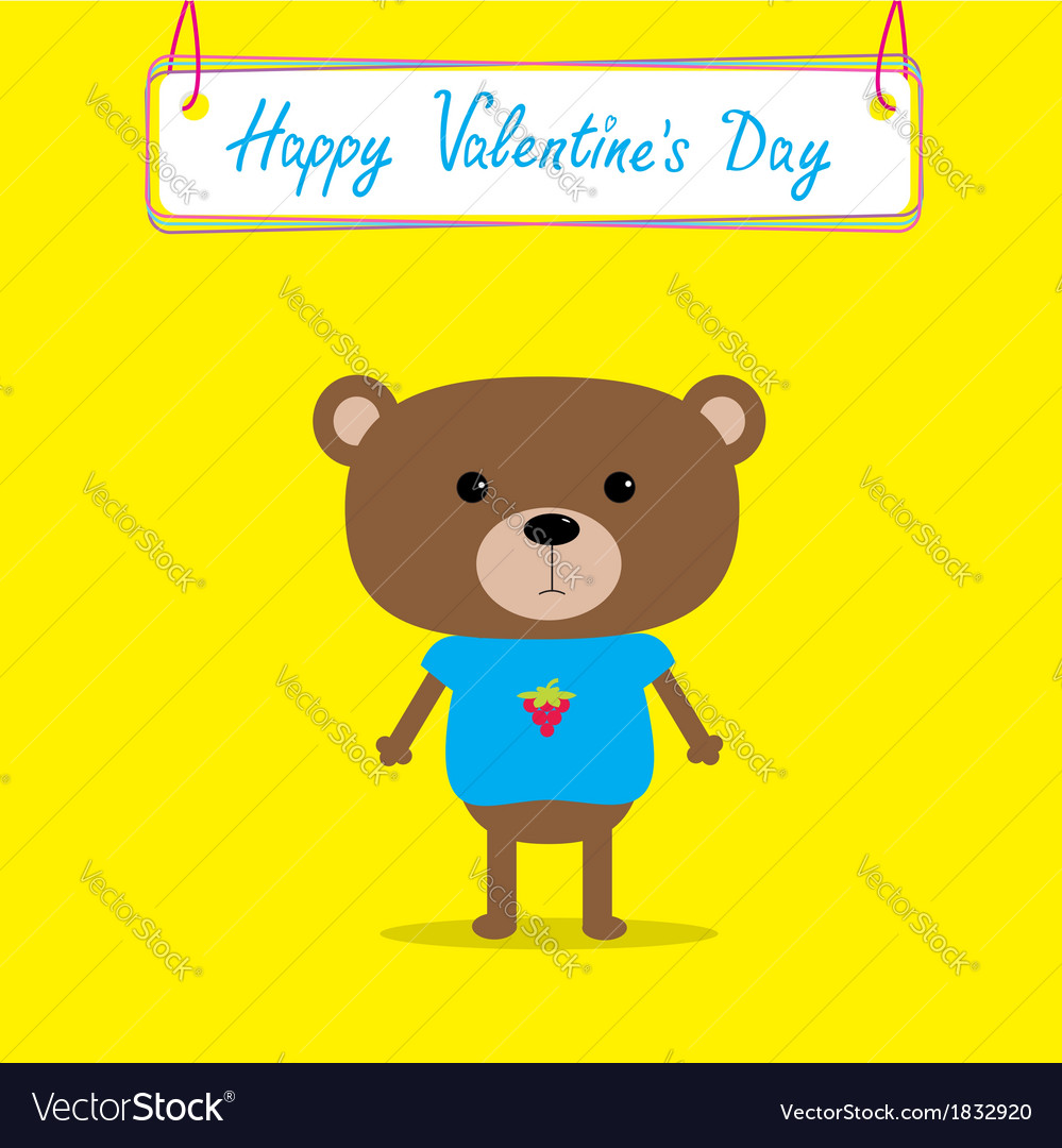 Cute bear Happy Valentines Day card vector image