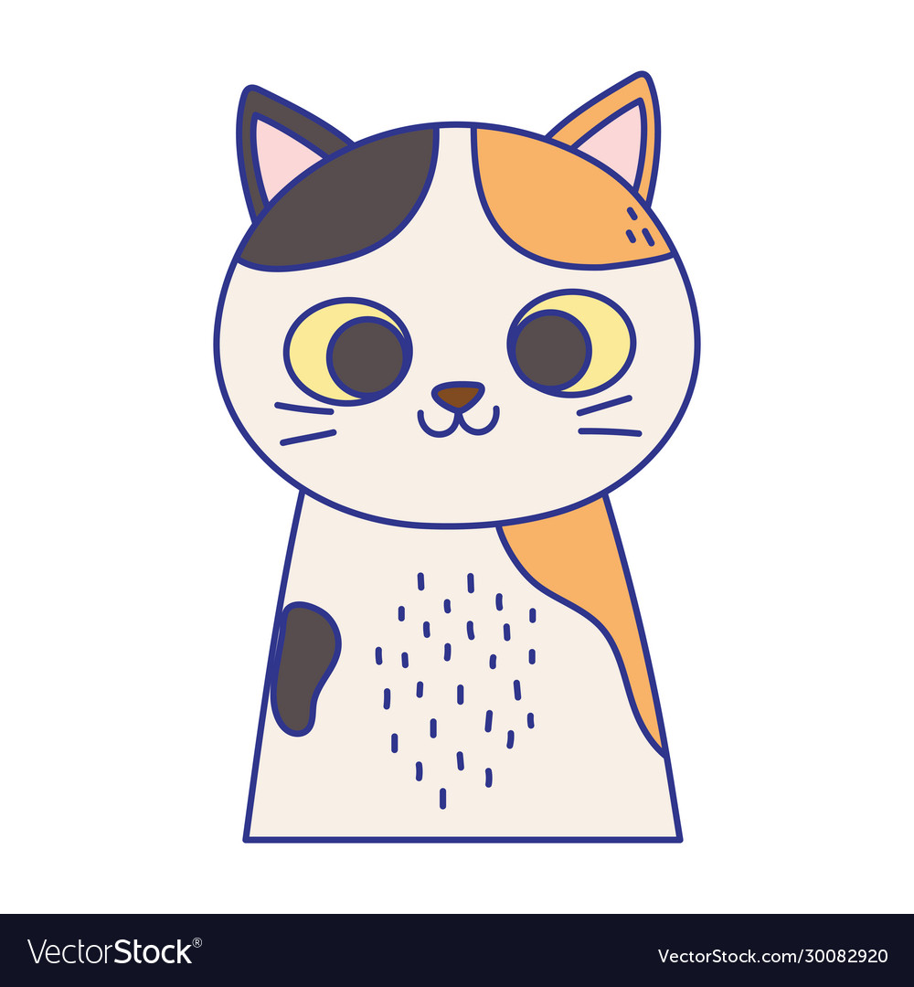 Cute cat portrait cartoon feline animal icon