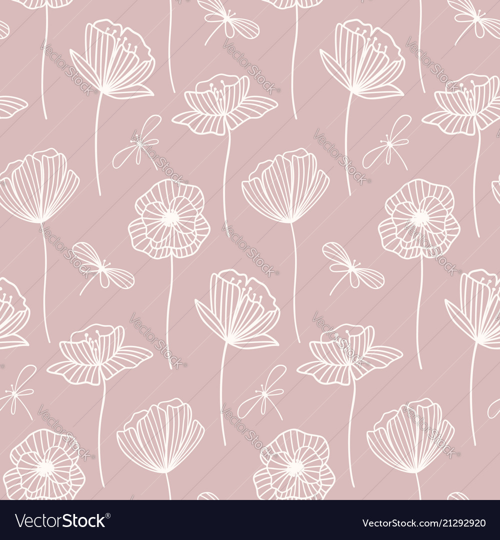 Floral seamless pattern with poppy flowers white