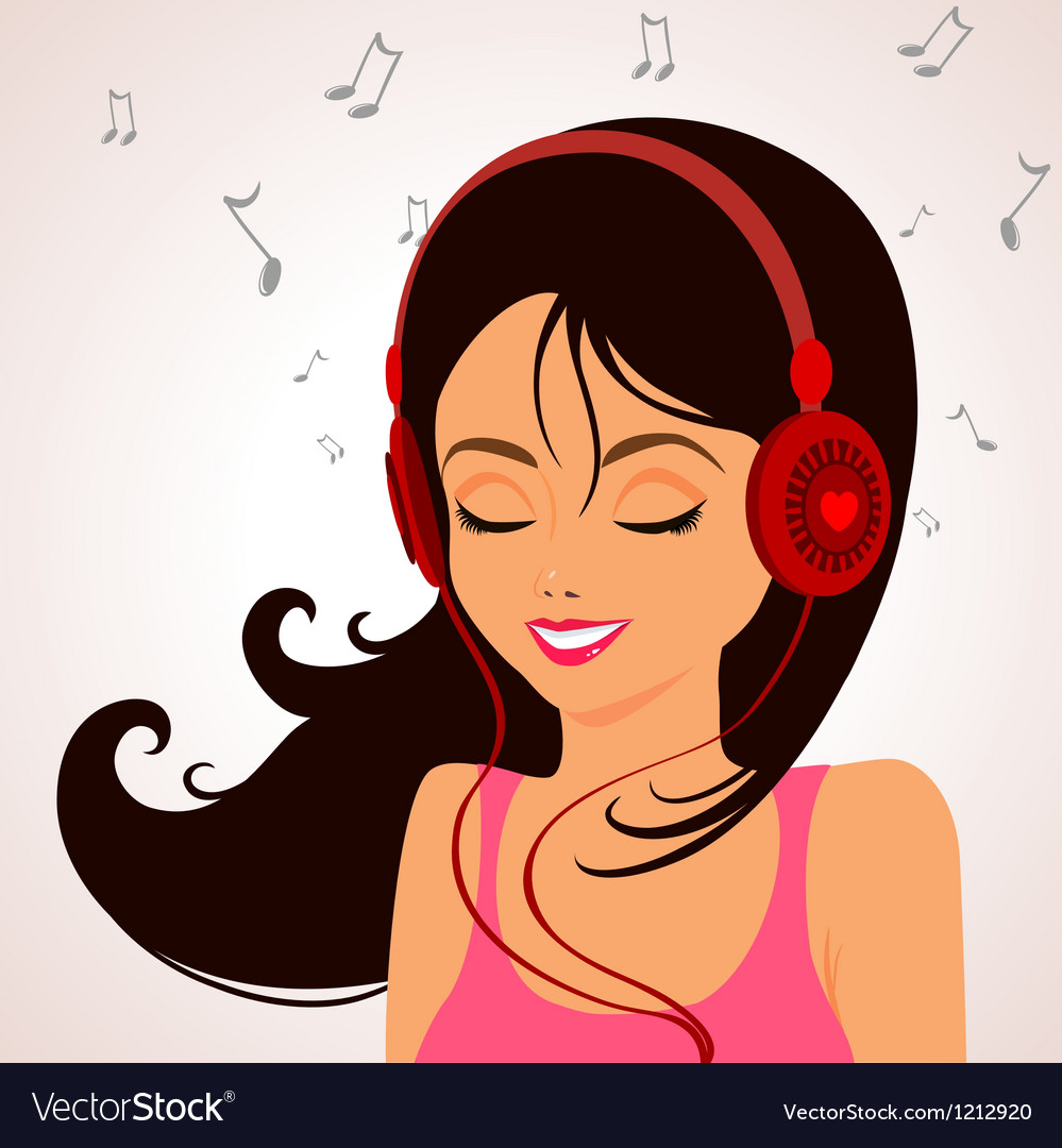Girl music vector image