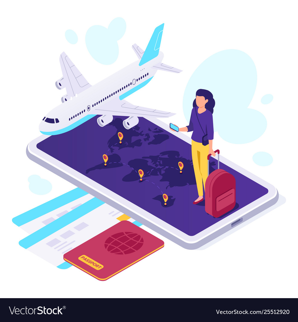 Isometric airplane travel traveler suitcase