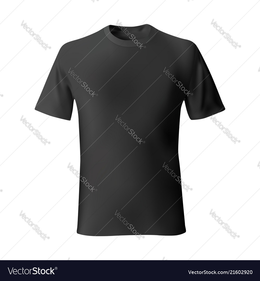 d33ed98279df40 Mens black t-shirt front views template Royalty Free Vector