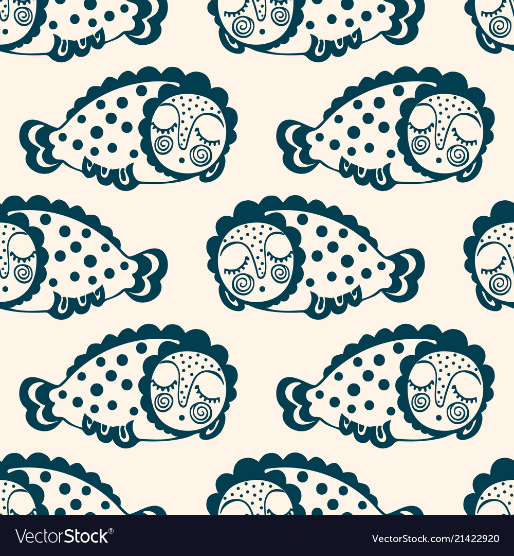 Seamless pattern with fantastic sleeping fish
