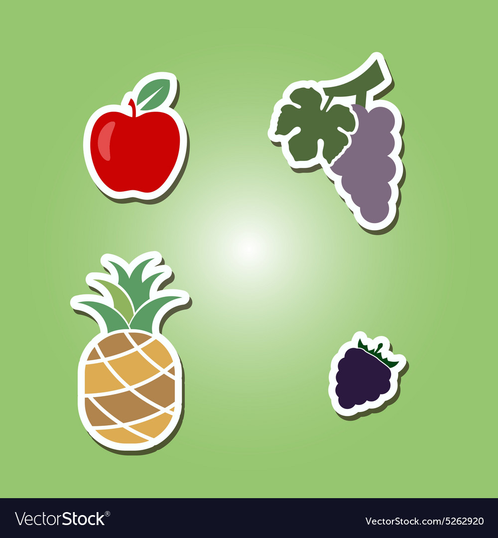 Set of color icons with fruits
