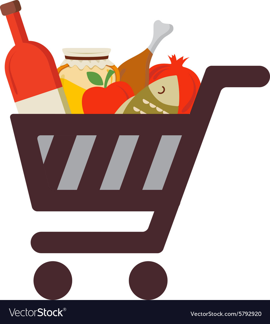 Shopping cart with rosh hashanah traditional food