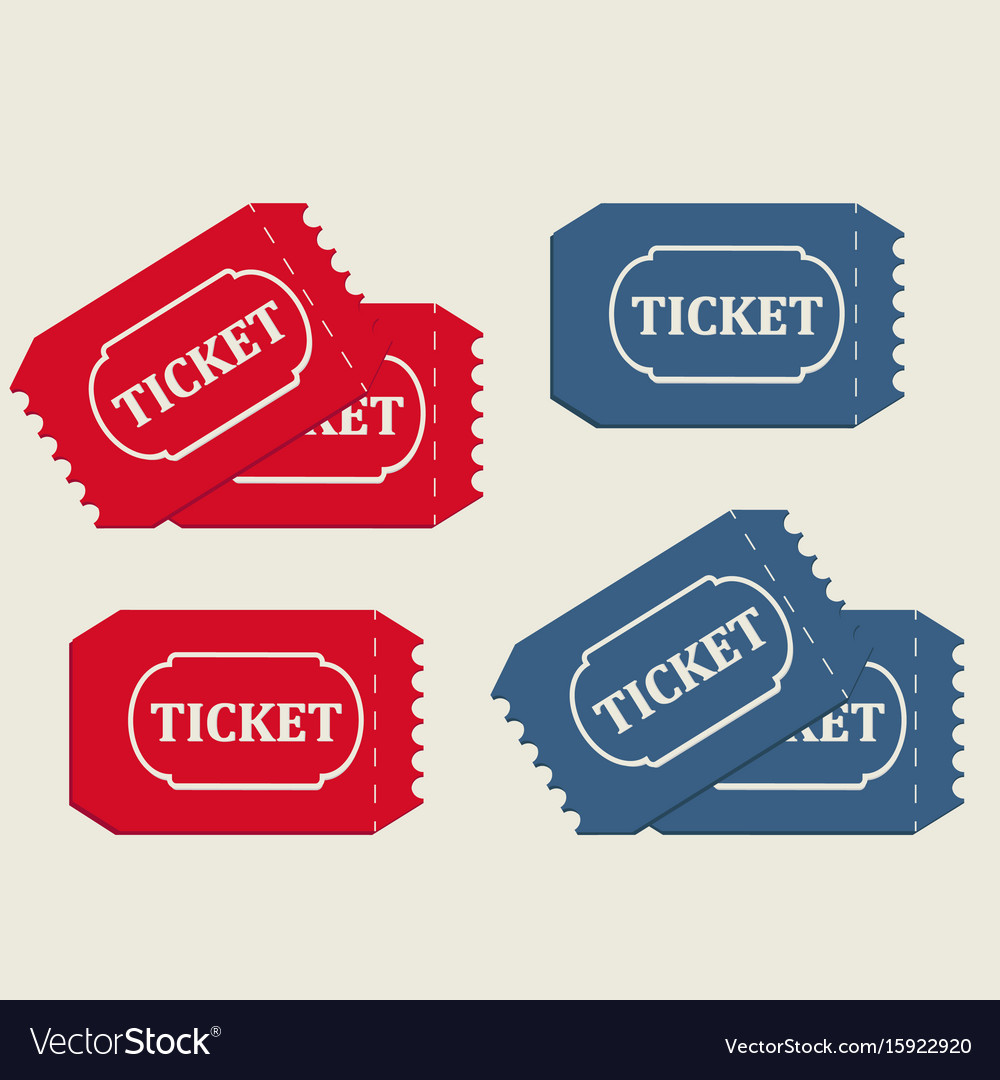 Tickets in red and blue vector image