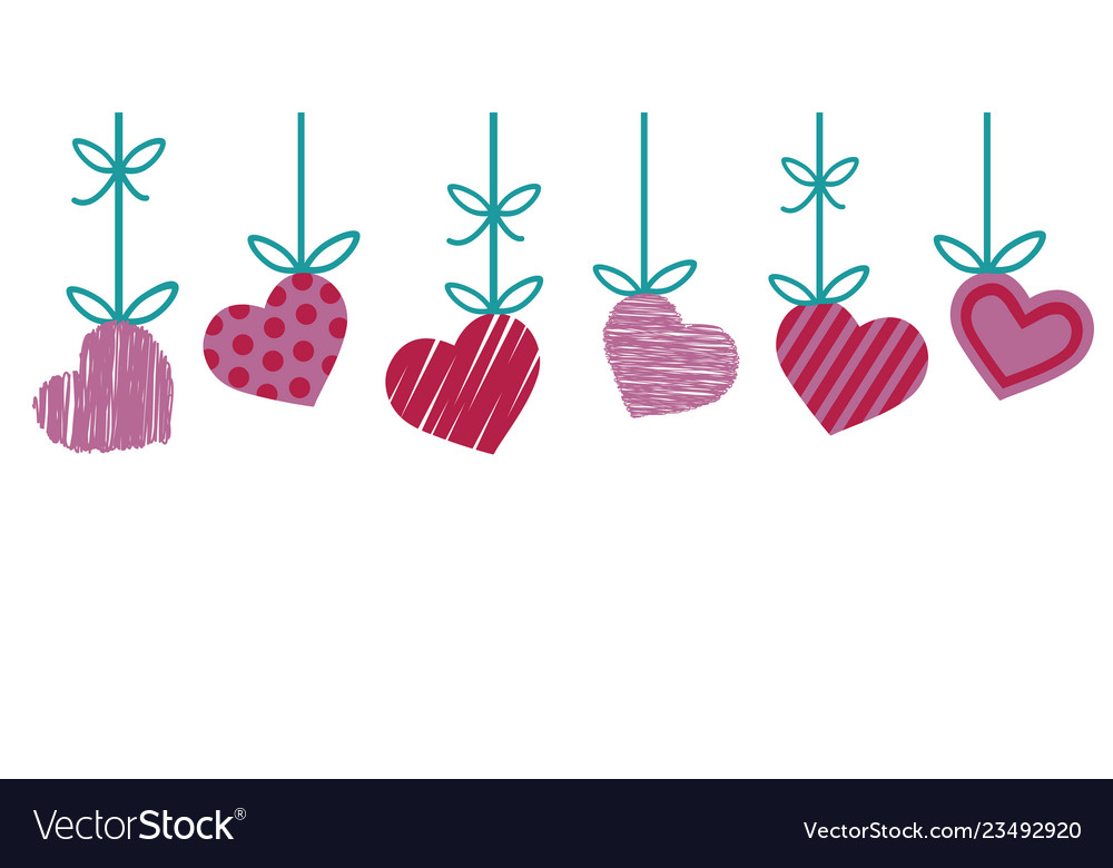 Valentine border for greeting card with red and