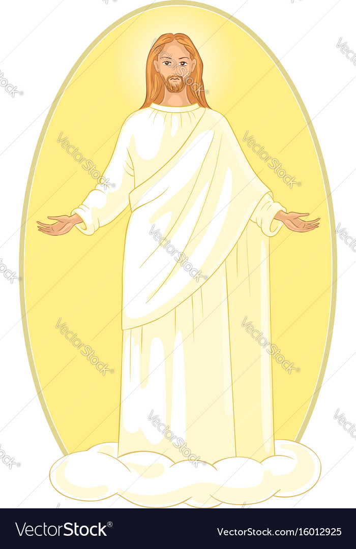 Ascension of jesus christ on cloud with arms open