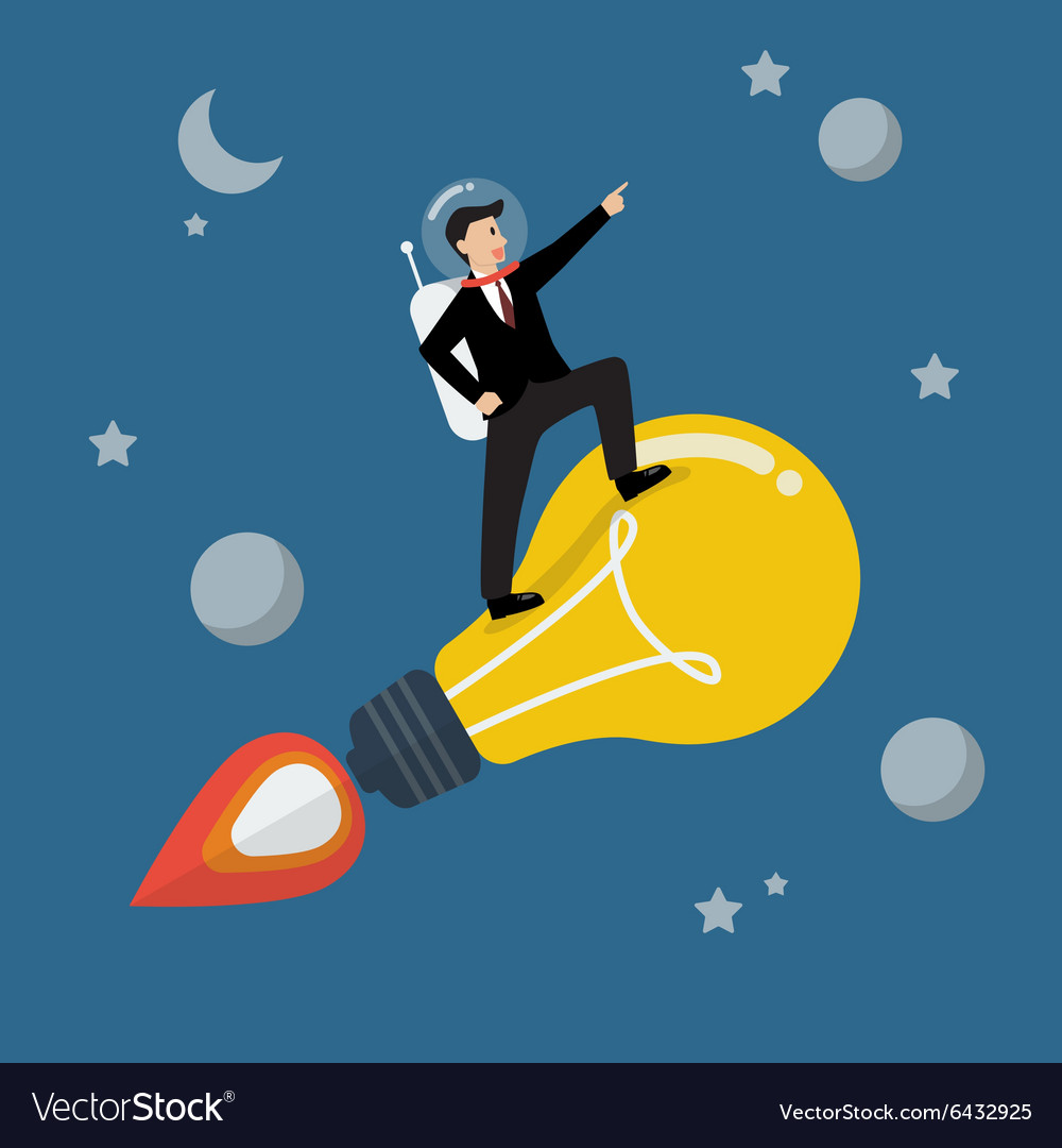 Businessman astronaut on a moving lightbulb idea