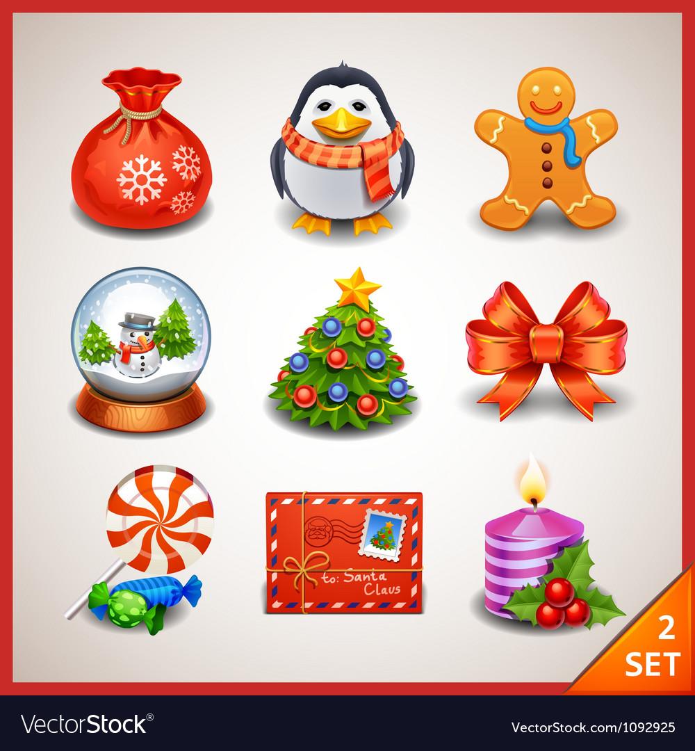 Christmas icon set-2 vector image