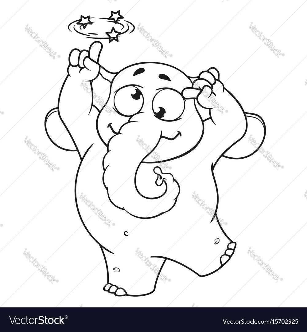 Elephant character gone crazy insane cartoon vector image