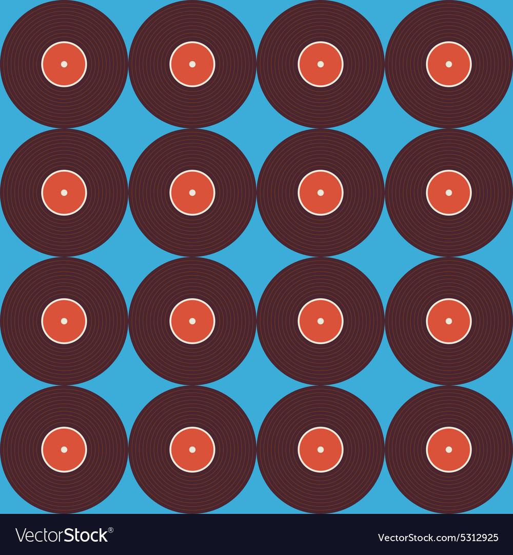 Flat Seamless Background Pattern Music Vinyl Disc