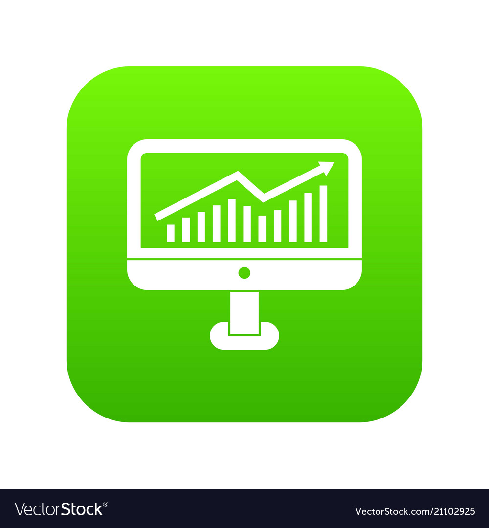Growth graph on the computer monitor icon digital