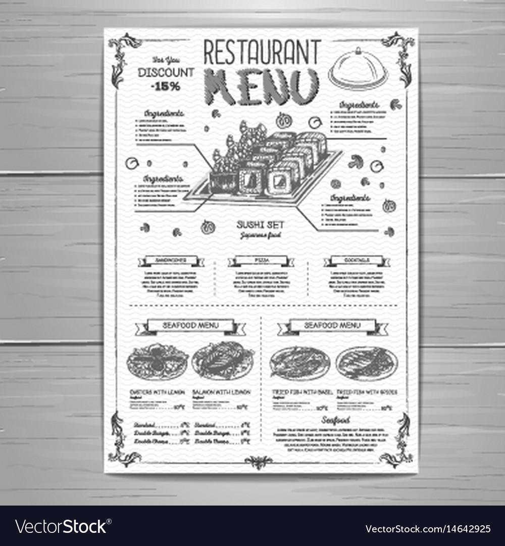 Hand drawing restaurant menu design