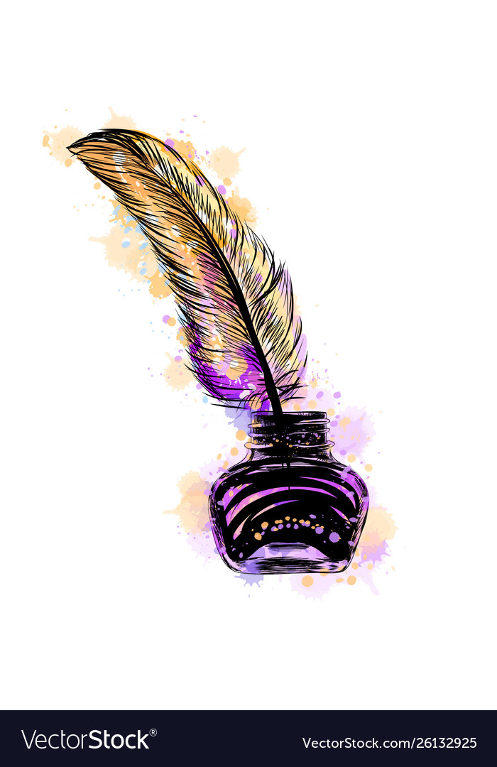 Inkwell with feather from a splash watercolor