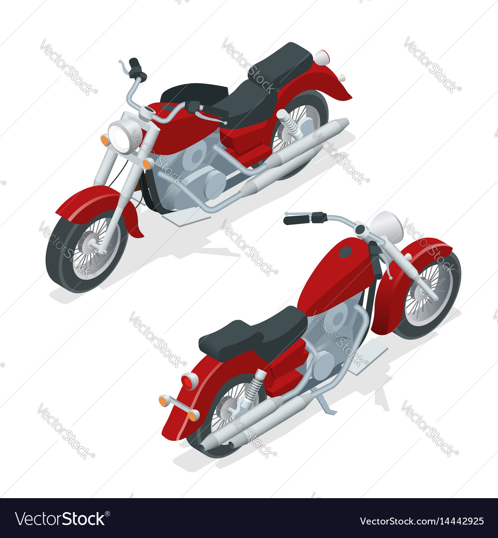 Isometric motorcycle or motorbike isolated on