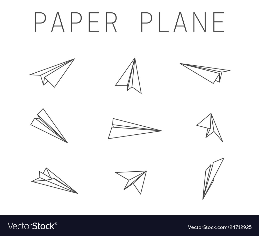Line paper planes icons