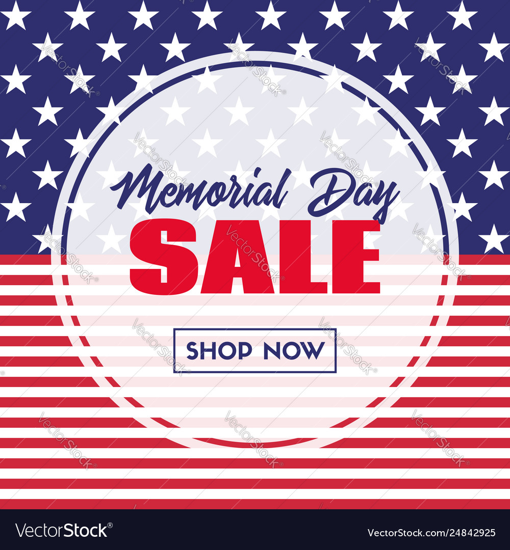 Memorial day sale banner template with usa flag