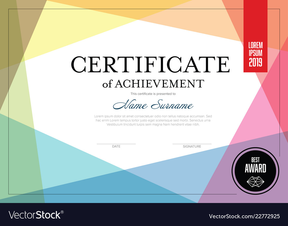 Modern Certificate Template Royalty Free Vector Image