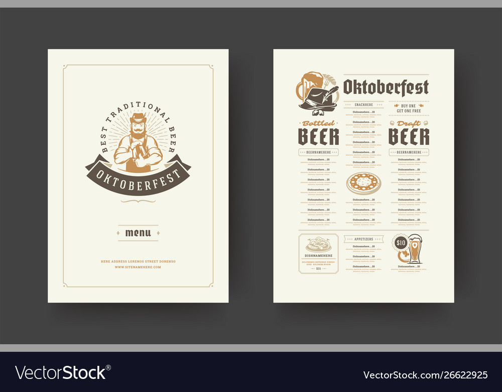 Oktoberfest menu vintage typography template