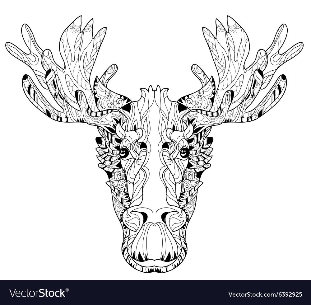 Ornamental head of elk layered