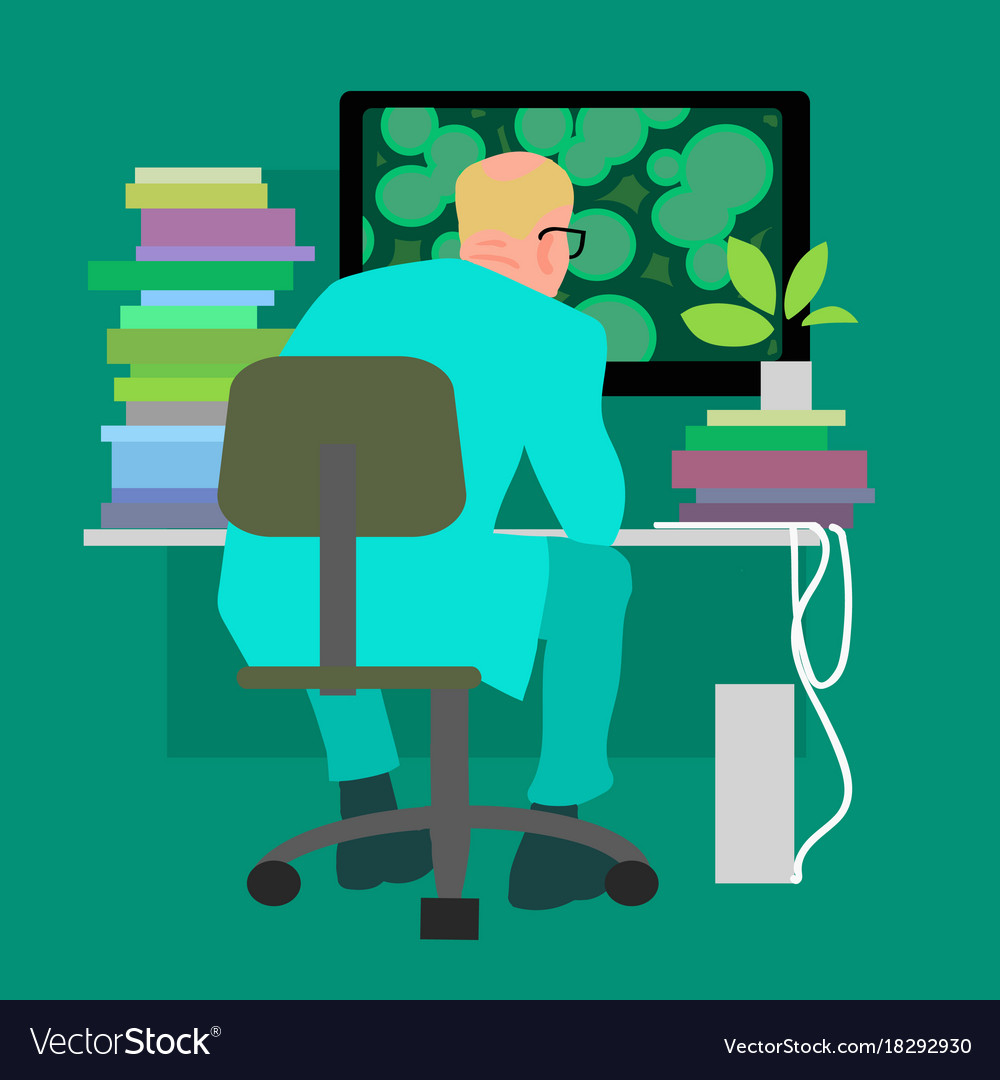 Biologist working on the computer