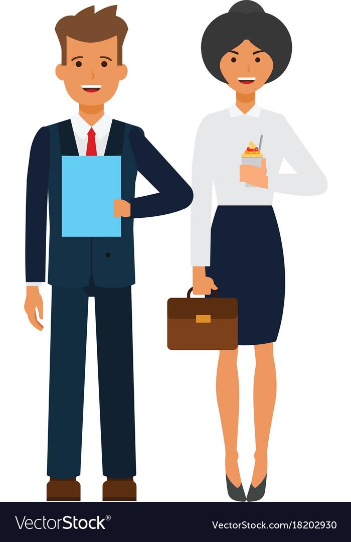 business office team cartoon flat royalty free vector image