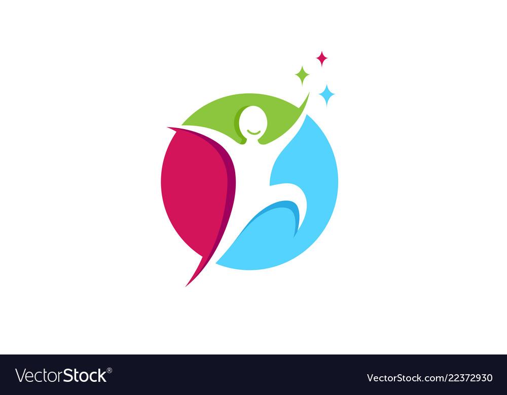 Creative jumping happy person circle logo