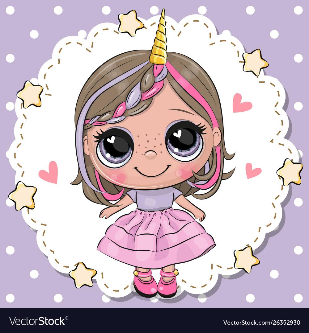 Cute cartoon unicorn girl with horn