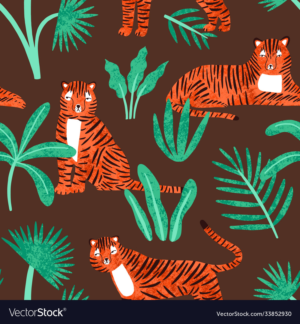 Cute tiger with tropical plants seamless pattern