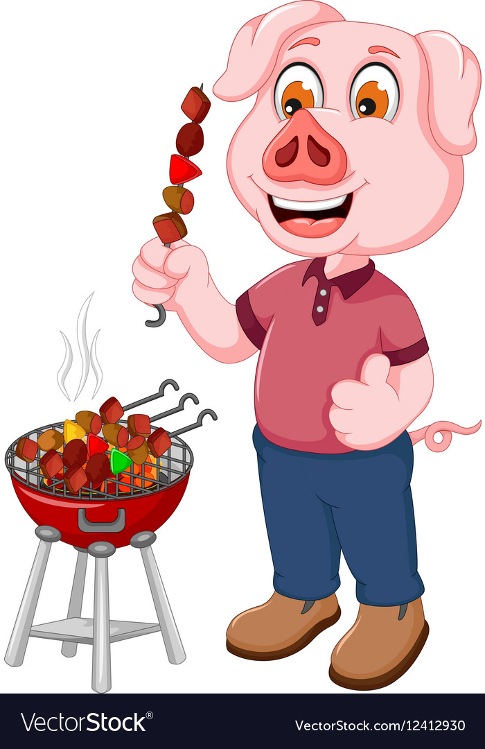 Funny pig cartoon making satay