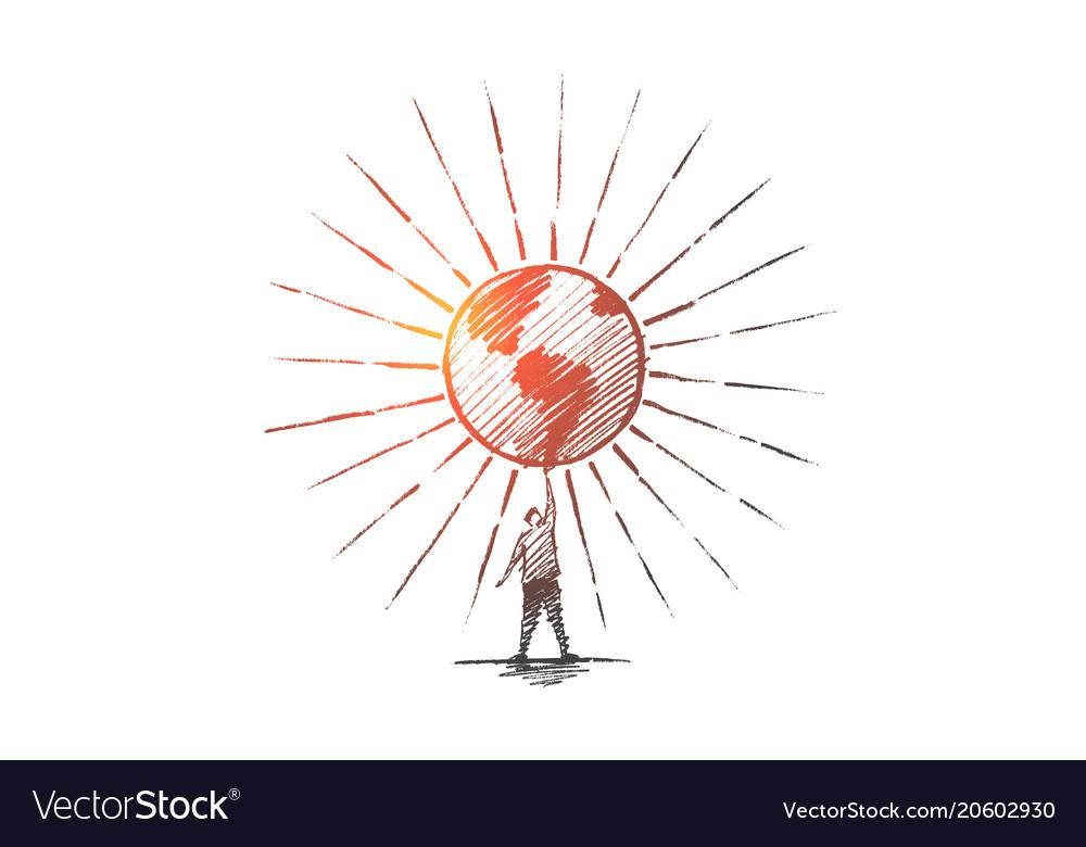 Hand drawn man holding shining globe
