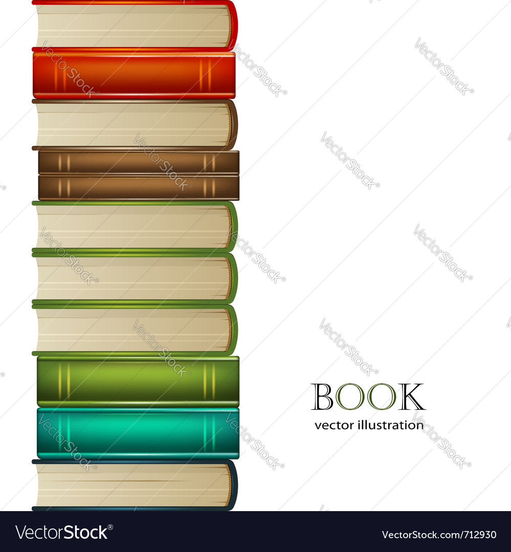 Heap of multi-coloured books isolated on white bac vector image