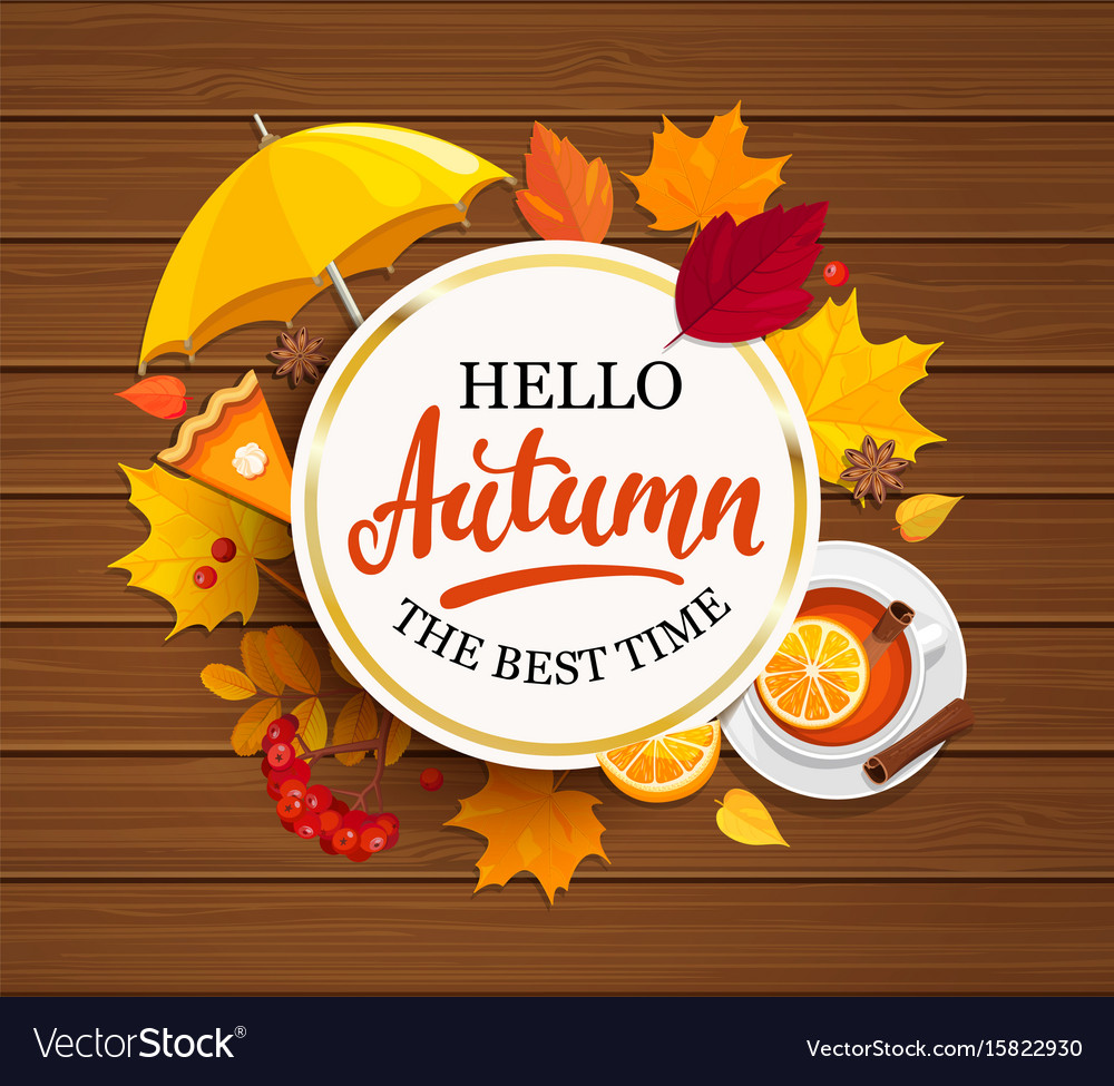 Hello autumn lettering in gold frame