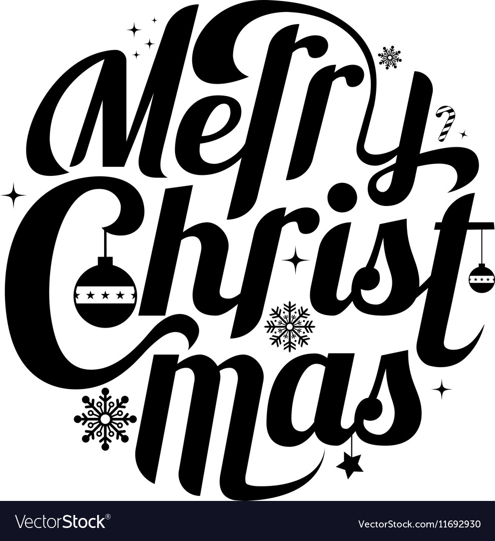 Merry Christmas lettering text white background
