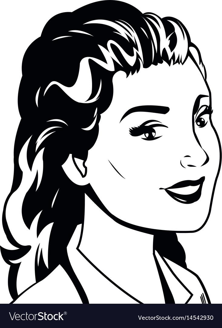 Portrait woman pop art black and