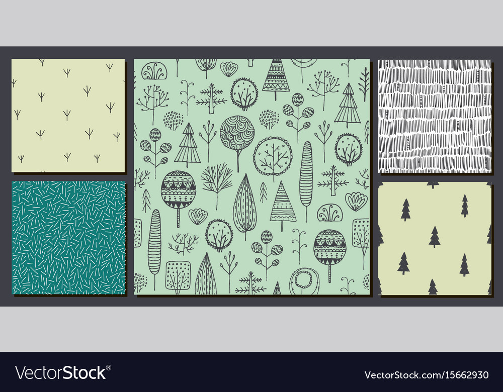 Set of hand drawn nature forest trees