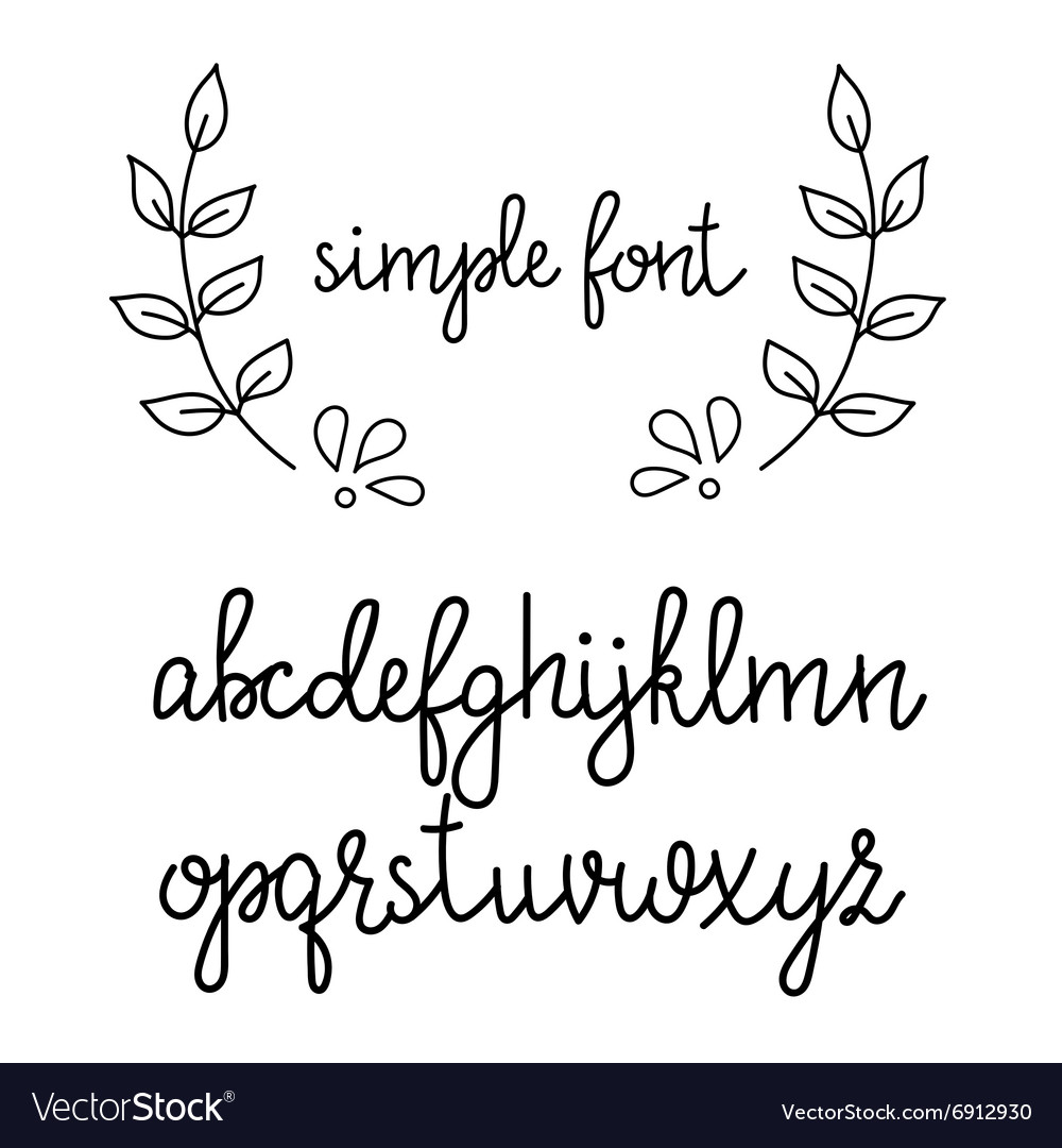 Simple Handwritten Cursive Font Vector Image
