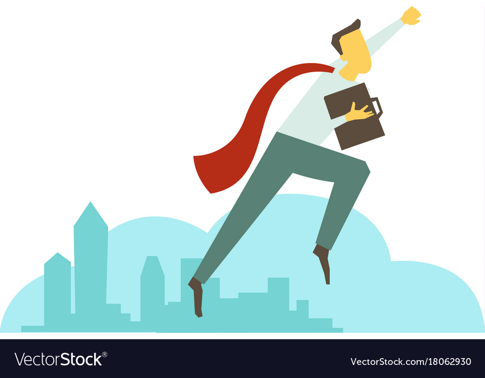 Superhero man businessman flies over the city